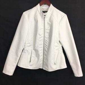 Baccini Fitted Vegan Leather Jacket, White Large
